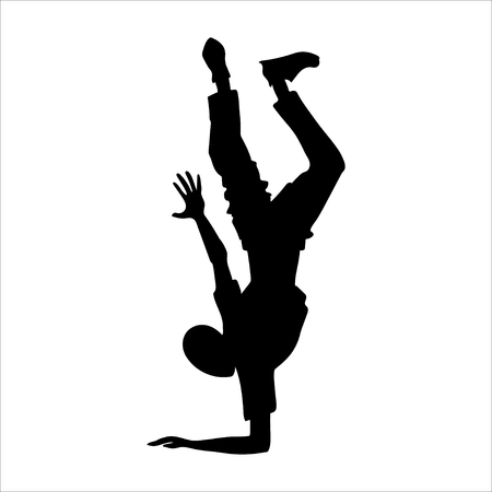 Breakdancer silhouette guy. Break dance studio or school 向量圖像