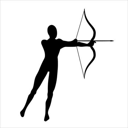 Archery shooting. Archer silhouette. Sign of Sagittarius