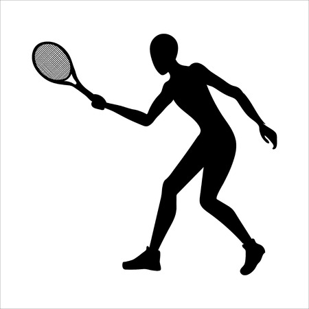 Tennis player silhouette. Acivity summer outdor game. Sport icon. Ilustração