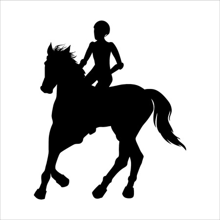 Horse racing and riding. Rider black silhouette. Vector