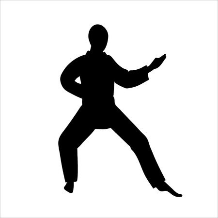Martial arts silhouette. Judo or karate icon. Stock Illustratie
