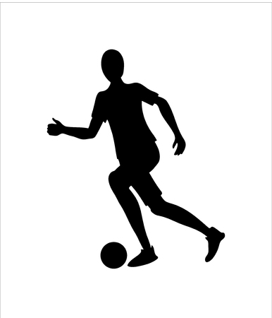 Soccer player or footballer silhouette. Football icon.