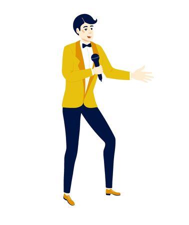 Showman ou chanteur avec un microphone. Gestion d'événements et organisation de soirées. Vecteurs