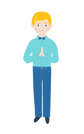 Christian boy pray with folded hands in prayer and standing. First holy communion