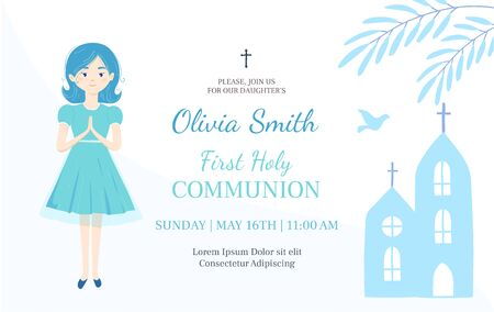 First Holy Communion invitation design template. Christian girl pray .