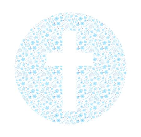 Flower cross. Symbol of christianity. Decorative element for Easter or the First Holy Communion