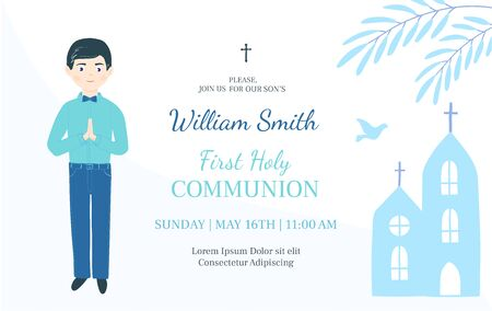 First Holy Communion invitation design template. Christian boy pray .