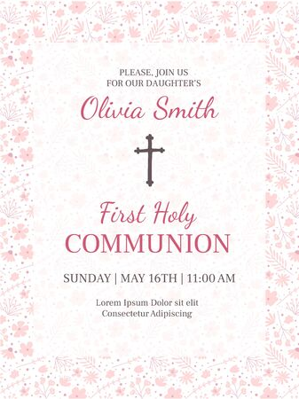 First holy communion greeting card design template