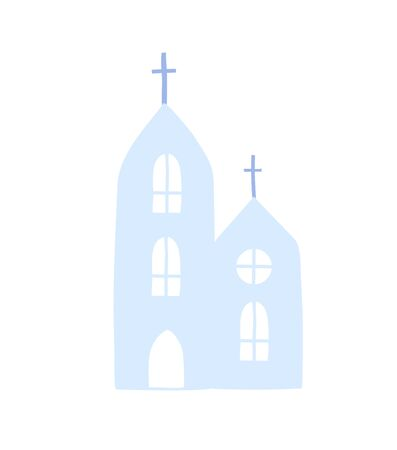 Catolic church isolated icon. Christian building outside