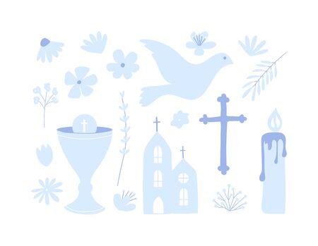 Erste heilige Kommunion-Set von Symbolen. Christentum Abbildung