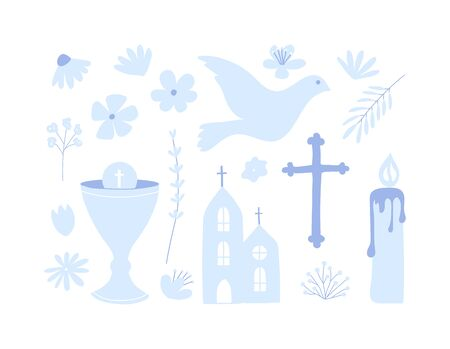 First holy communion set of icon. Christianity illustration