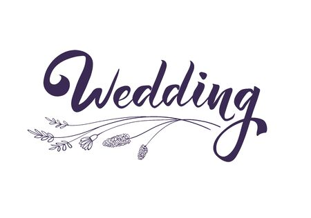 Wedding isolated handwritten drlettering. Hand drawn inscription with delicate flowers