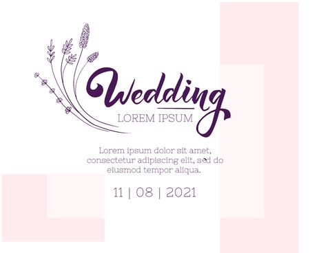 Wedding invitation design template. Floral and abstract greeting card layout. Vector