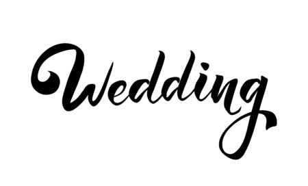 Wedding isolated handwritten lettering. Hand drawn inscription