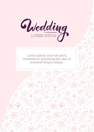 Wedding invitation cute design template. Floral flyer template