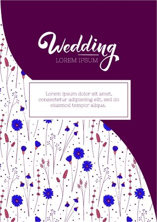 Wedding invitation layout. Greeting card design template