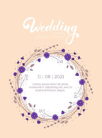Bohemian rustic wedding invitation layout. Greeting card design template