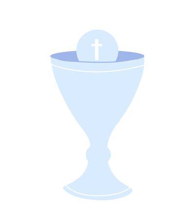 Communion cup isolated icon. Christian symbol. Rites of the Catholic Church Ilustração