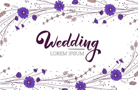 Wildflower wedding invitation layout. Greeting card design template