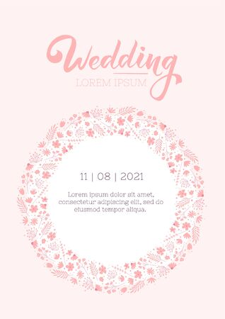 Wedding invitation cute design template. Floral flyer layout