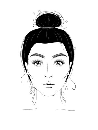 Fashion portrait of a girl with beautiful eyelashes. Illustration for a beauty salon.
