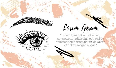 Make up artist business card template. Banner for beauty salon or cosmetics product. Vector illustrstion