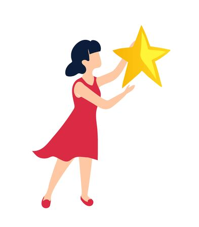 A girl holds a star as a symbol of her victory. The winner received a reward for achieving the goal.