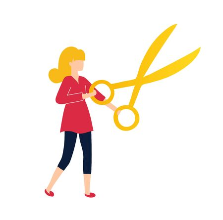 The girl cuts with scissors. Illustration for a sewing studio or hairdresser