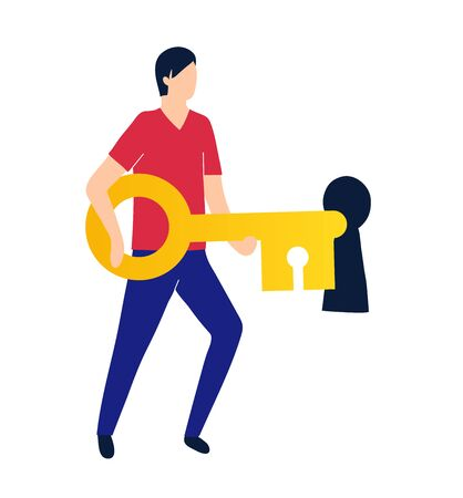 A man opens or closes the lock with a key. Hacking and data security Illustration
