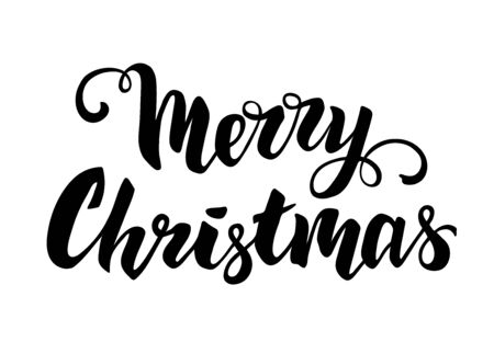Merry christmas hand drawn lettering for greeting card. Vector