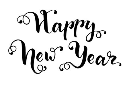 Happy New Year hand drawn lettering for greeting card. Vector