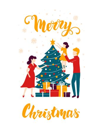 The family decorates the Christmas tree for the holiday. New Year Illustration