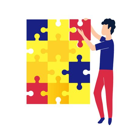 Concept man fold the puzzle. Creation and development process. Vector illustration