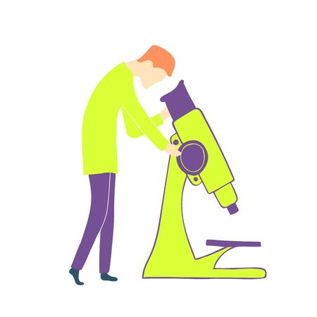 A scientist looks through a microscope. Medical or chemical laboratory.