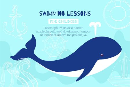 A whale swims in the ocean. Banner design template for swimming lessons for children in the pool.