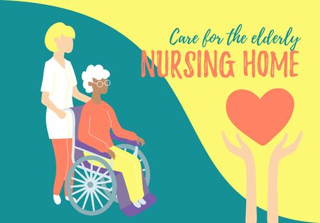 Nursing home. Care for people with disabilities and oldster. Carers and social workers