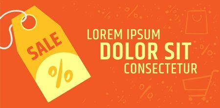 Price tag banner template. Seasonal discounts and sales Ilustração