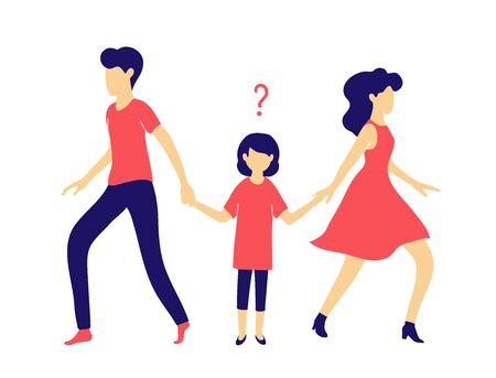 Husband and wife get divorced. A child chooses between dad and mom. Conflicts in the family and court in the case of parental rights and guardianship. Vector Illustration Ilustracja