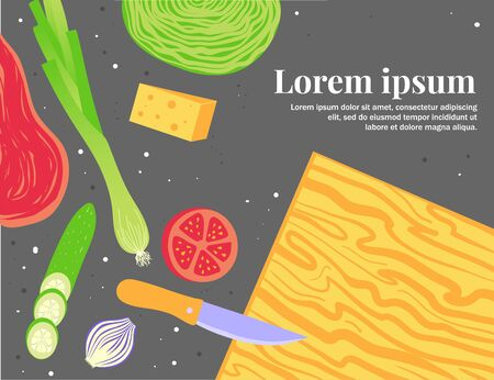 Culinary blog banner template. Food, kitchen and cooking. Recipe of dish.
