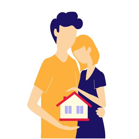 A married couple is buying a house on a mortgage. Real estate loan. Home insurance