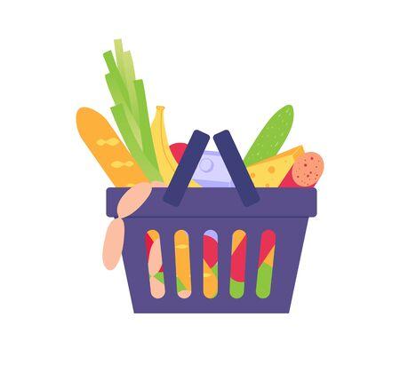 Food basket. Shopping at the grocery supermarket Illustration
