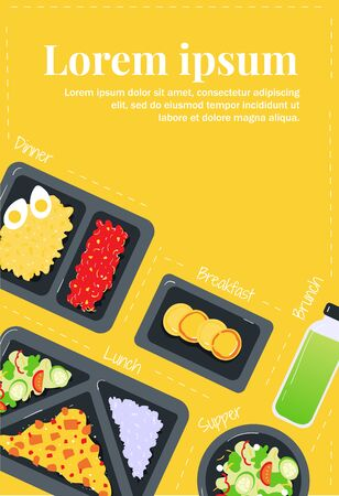 A balanced diet. Food delivery and catering. Healthy eating. Nutritionist, nutrition and lose weight. Flyer template Illustration