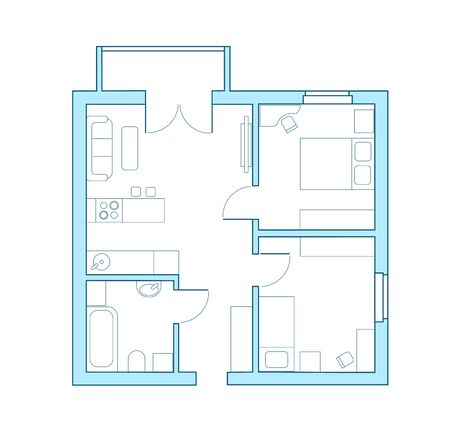 Apartment layout. Home interior design. Buying a property through a real estate agency. Line drawing of a house Çizim