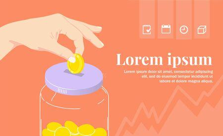 Save money and collect coins in a moneybox. Investing and Finance. Savings account or deposit. Vector illustration