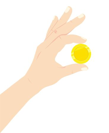 Hold coin in hand. Finance and Savings. Family budget. Isolated vector illustration 向量圖像
