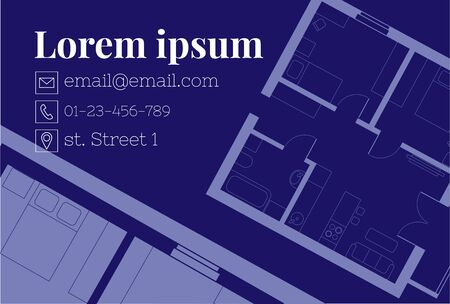 Construction project. Architectural drawing of an apartment layout. Home interior design. Buying a property through a real estate agency. Business card template Çizim