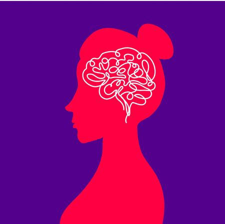 Psychological human health. Thoughts in the head of a woman. Brain work