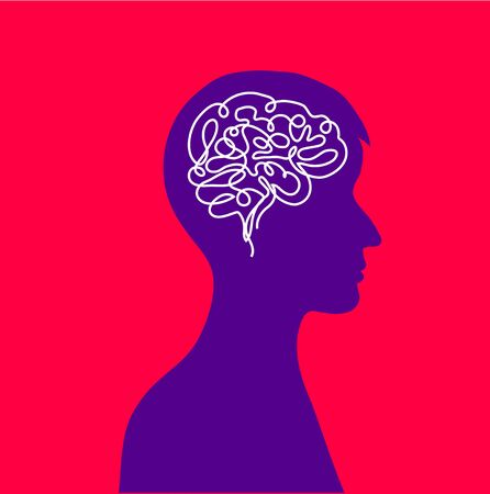 Psychological human health. Thoughts in the head of a man. Brain work. Vector illustration 向量圖像