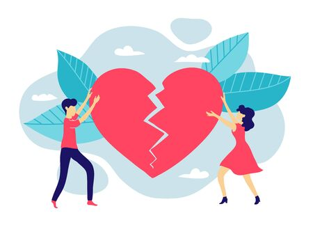 A married couple restores a broken heart. Family psychologist and husband-wife conflict. Love and relationship between a man and a woman Banco de Imagens - 135481018