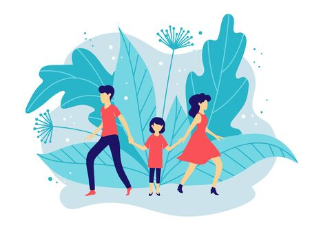 Husband and wife get divorced. A child chooses between dad and mom. Conflicts in the family and court in the case of parental rights and guardianship. Vector Illustration Illustration